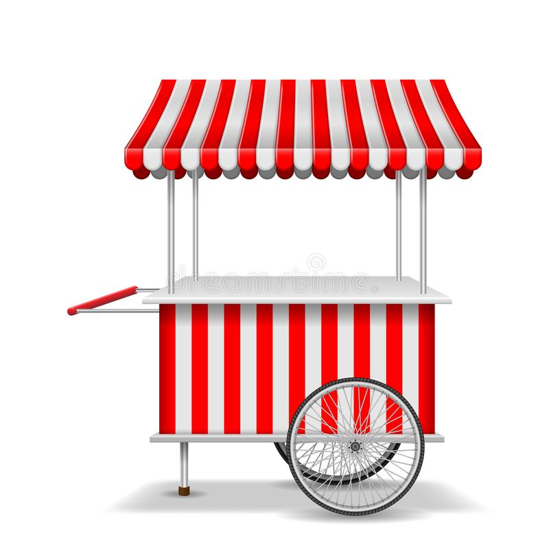 Realistic street food cart with wheels. Mobile red market stall template. Farmer shop market cart, kiosk store mockup stock illustration