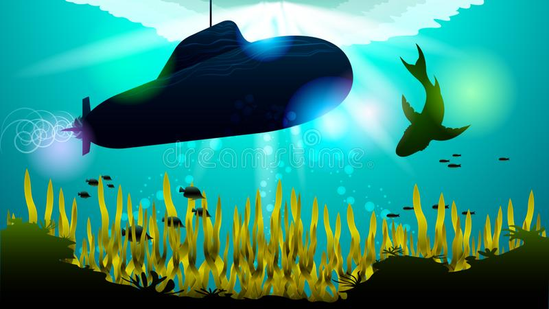 Realistic Submarine and shark under the water. Among the corals and algae, in the sunlight. Light effects at the bottom of the sea. Beautiful photorealistic stock illustration