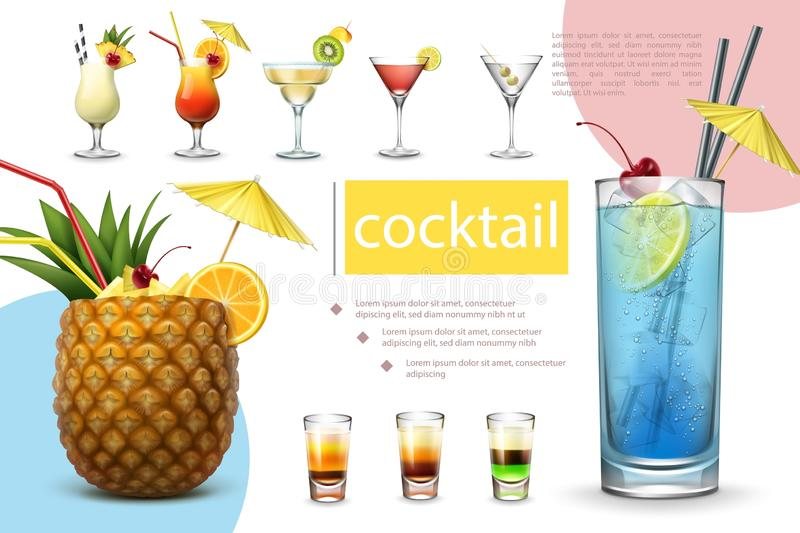 Realistic Summer Cocktails Collection. With pina colada tequila sunrise margarita cosmopolitan martini blue lagoon and different shot drinks vector illustration stock illustration