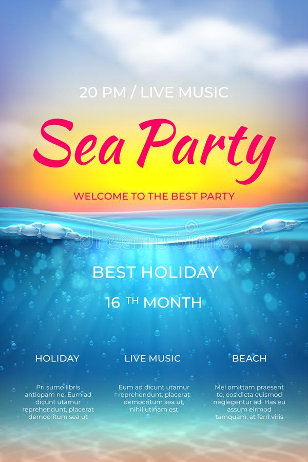 Realistic summer poster. Pool party design, ocean underwater scene for vacation marine event. Vector sea beach party vector illustration