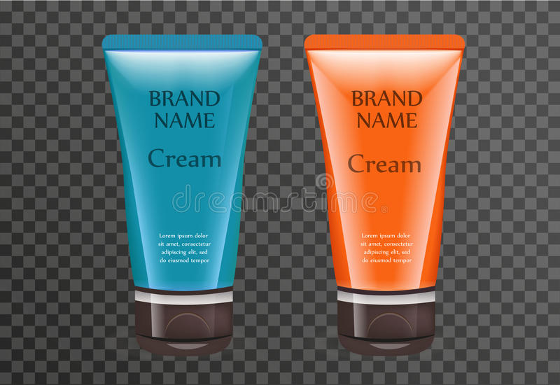 Realistic sun cream package template for your design. Sunscreen tube mock-up product bottle with a transparent. Background. Cosmetics 3d flacon. Vector stock illustration