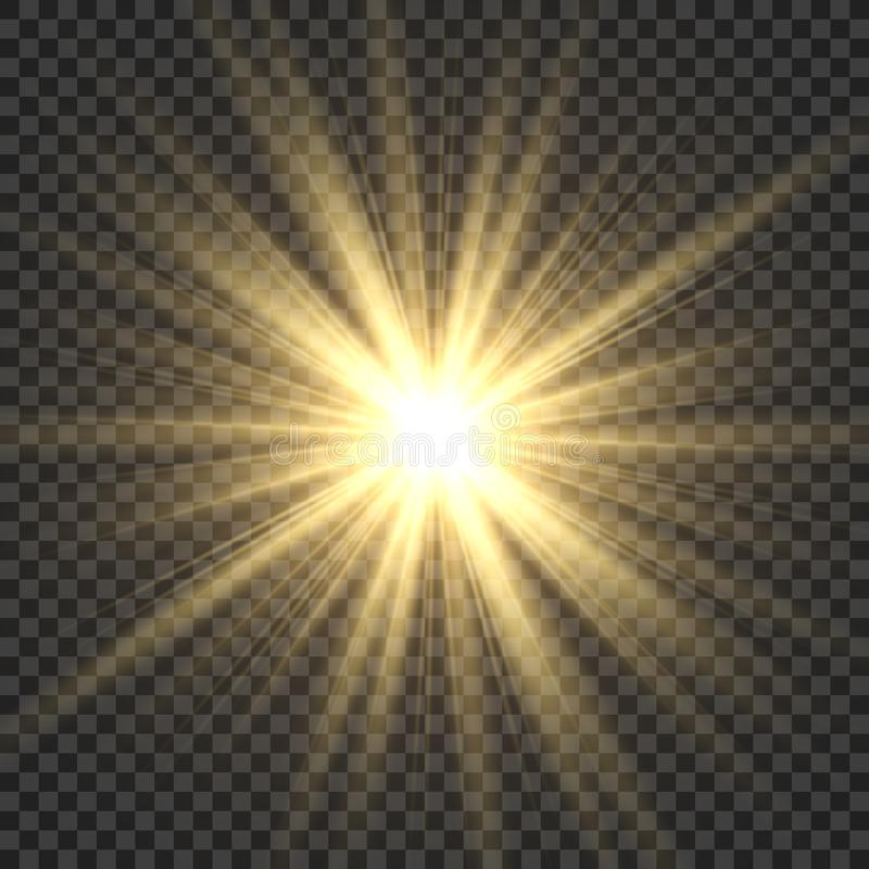 Free Realistic Sun Rays. Yellow Sun Ray Glow Abstract Shine Light Effect Starburst Sbeam Sunshine Glowing Isolated Image Stock Images - 138456344