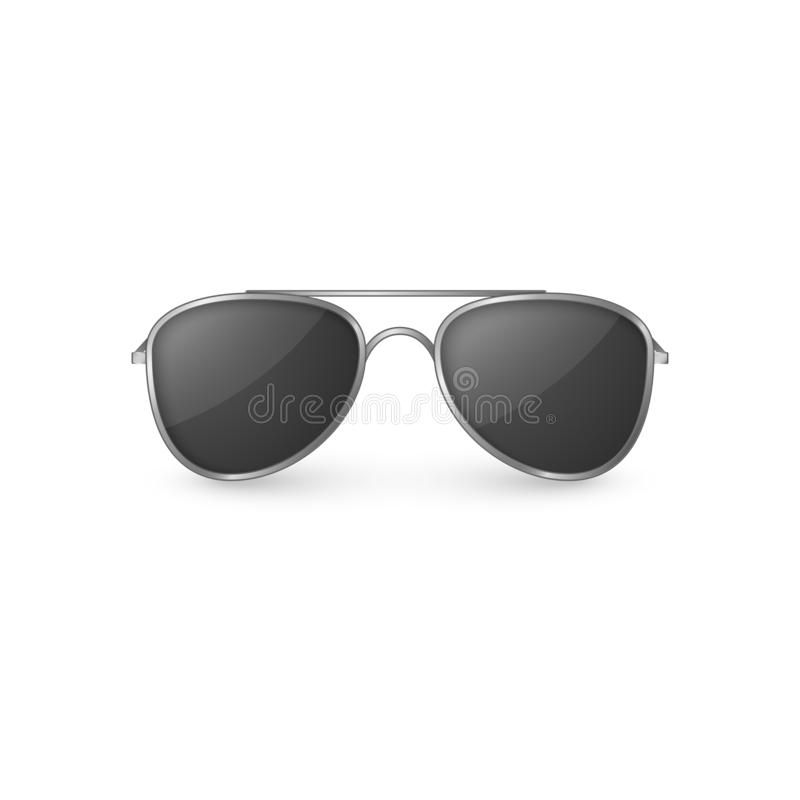 Realistic sunglasses front view. Plastic glasses with shadow. Vector illustration isolated on white background stock illustration