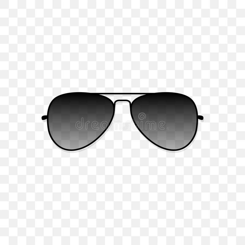 Realistic sunglasses with a translucent black glass on a transparent background. Protection from sun and ultraviolet. Rays. Fashion accessory vector royalty free illustration