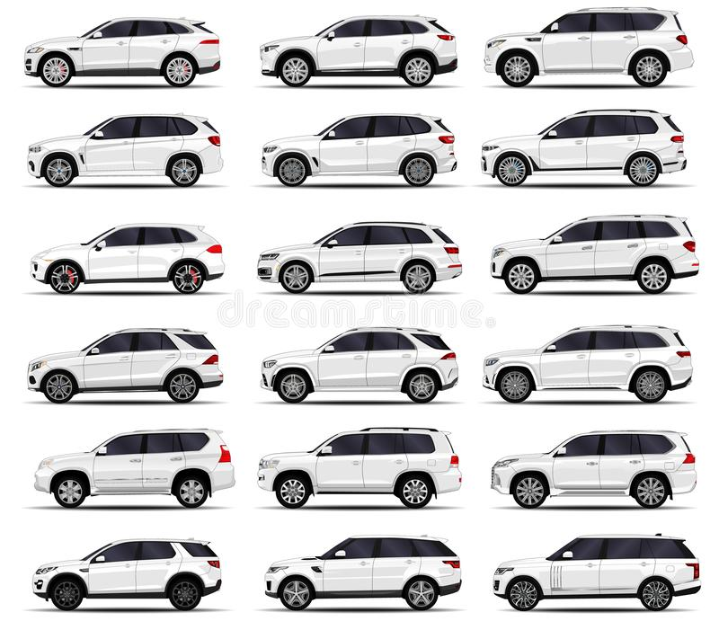 Realistic SUV cars set royalty free illustration