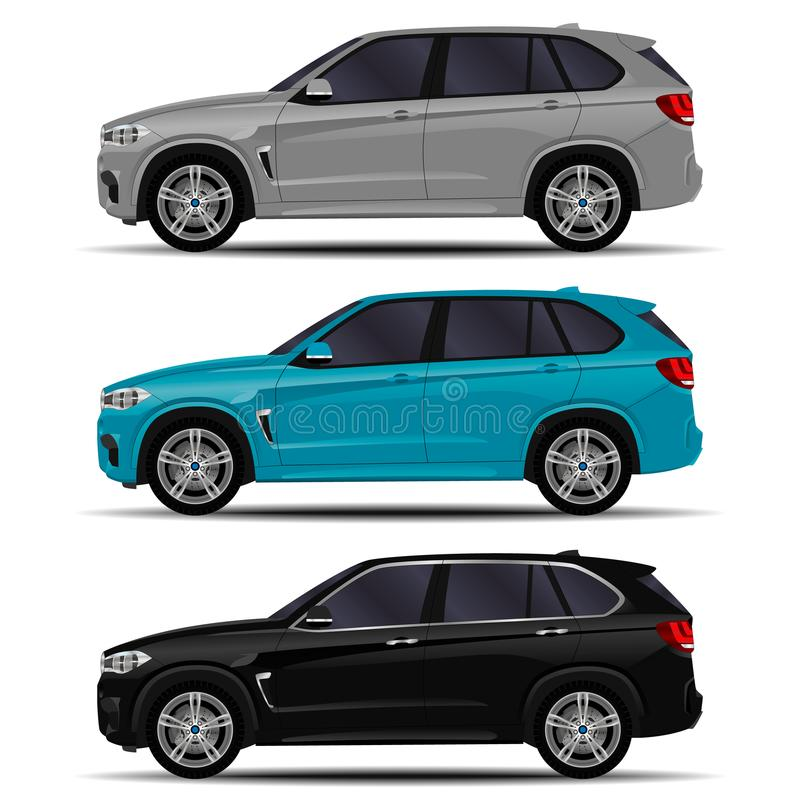 Realistic SUV cars vector illustration