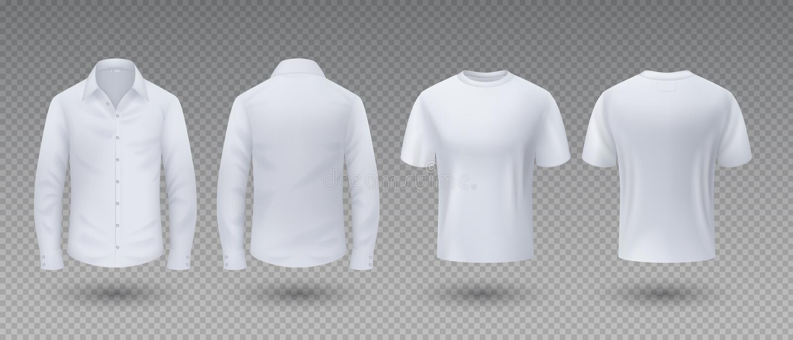 Realistic t-shirt and shirt. White mockup isolated template, 3D blank male uniform clothing, front and back view. Vector. Sport wear for man with long sleeve royalty free illustration