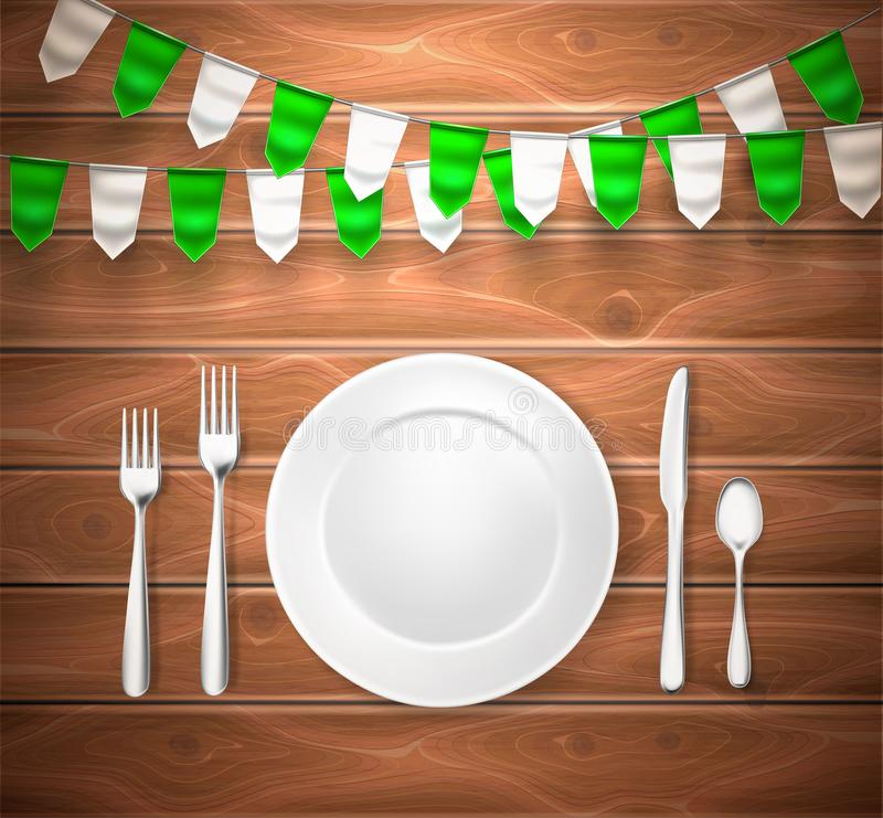 Realistic Table Setting St Patrick Wooden Texture Stock Vector ...