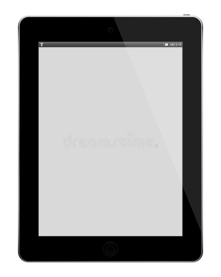 Realistic tablet pc computer with blank screen isolated on white background. royalty free stock images