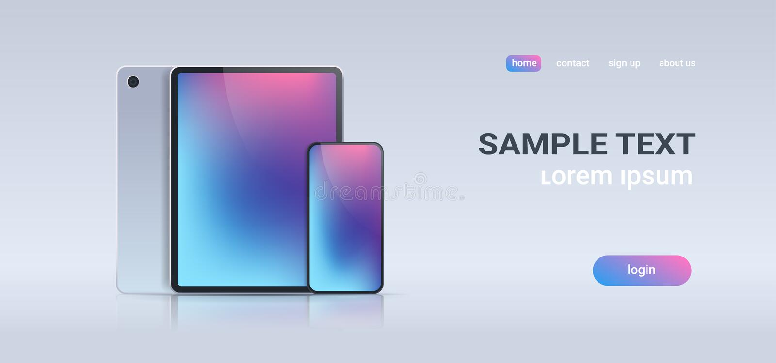 Realistic tablet pc and mobile smartphone with colorful screen on gray background digital technology concept horizontal stock illustration
