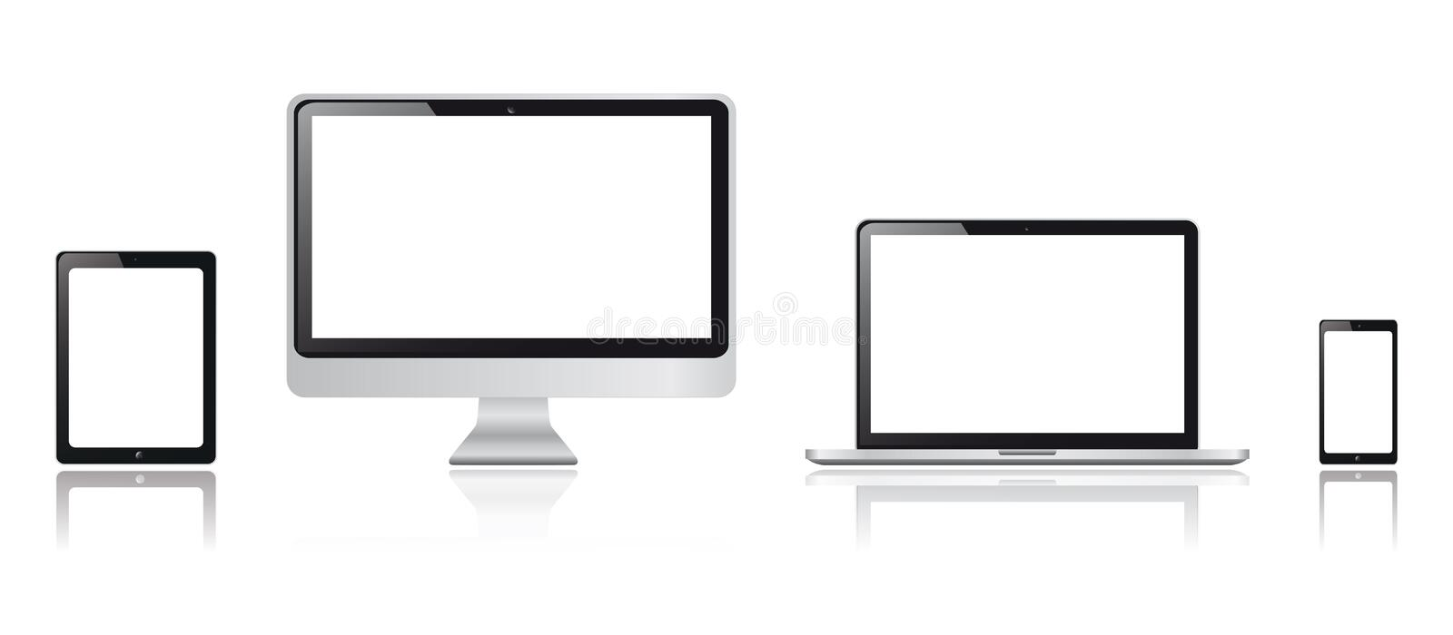 Realistic tablet, smartphone, monitor and tablet computer graphics royalty free illustration