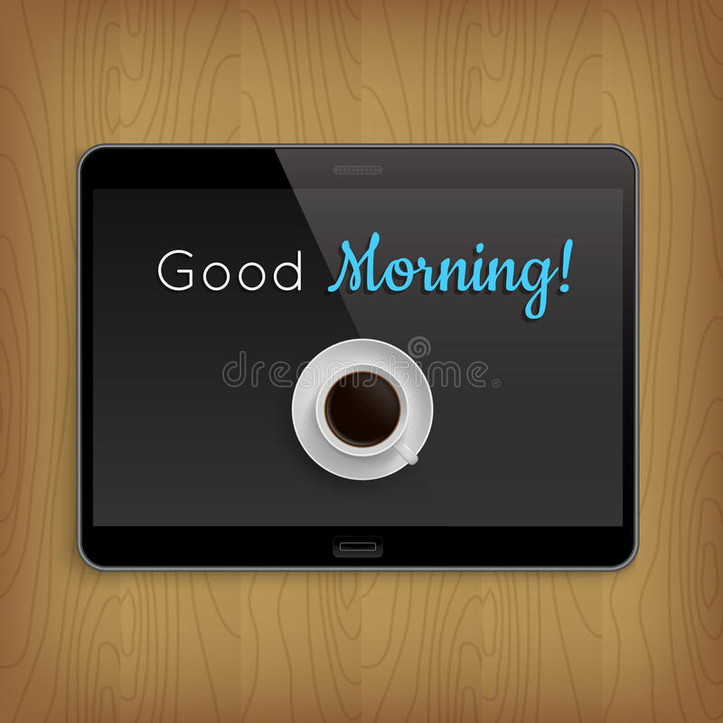 Realistic tablet on wooden table stock illustration