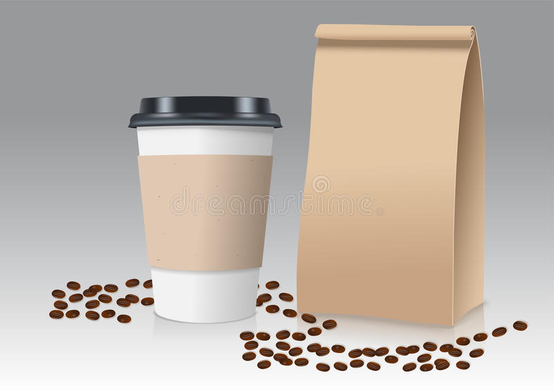 Realistic take away paper coffee cup and brown paper bag with coffee beans. Vector illustration. royalty free stock photos