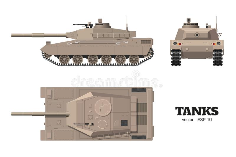 Realistic tank blueprint. Armored car on white background. Top, side, front views. Army weapon. War camouflage transport. Vector illustration stock illustration