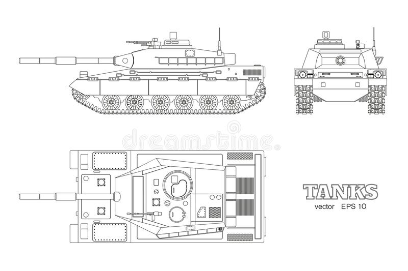 Realistic tank blueprint. Outline armored car on white background. Top, side, front views. War camouflage transport. Realistic tank blueprint. Outline armored royalty free illustration