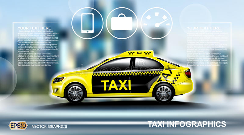 Realistic Taxi car Infographic. Urban city background. Online Cab Mobile App, Cab Booking, Map Navigation e-commerce. Realistic Taxi car Infographic. Online Cab vector illustration