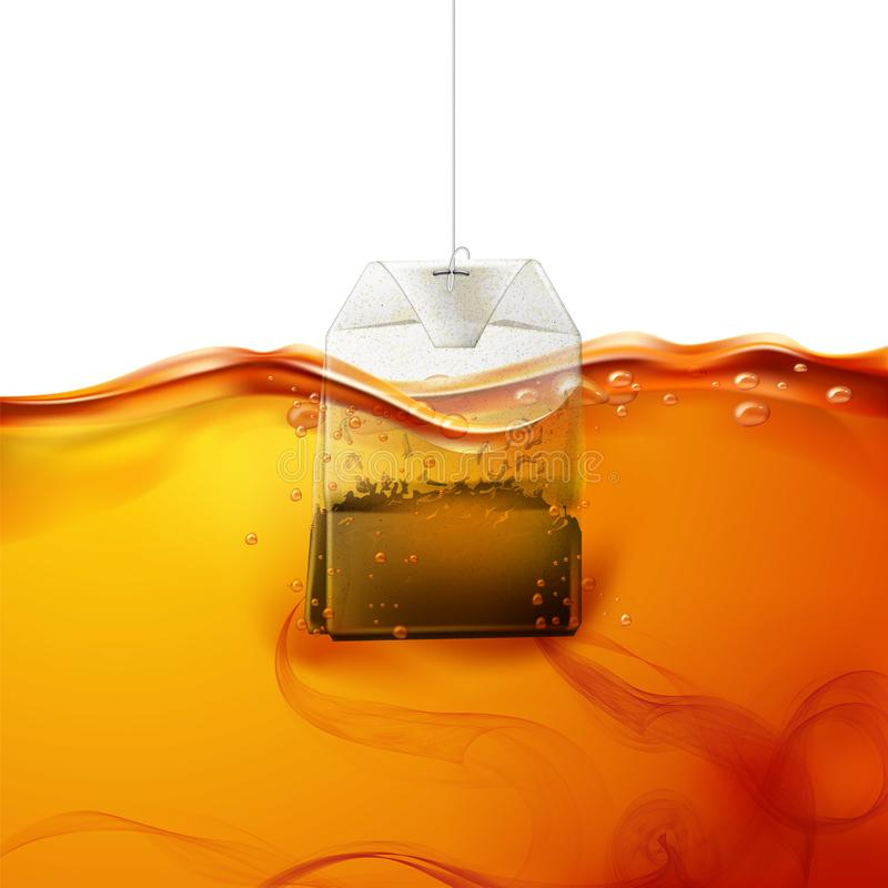 Vector realistic teabag dipped into hot water. Realistic teabag dipped into hot water. Black tea swirls in fresh liquid. Sachet brewing in hot beverage flow stock illustration