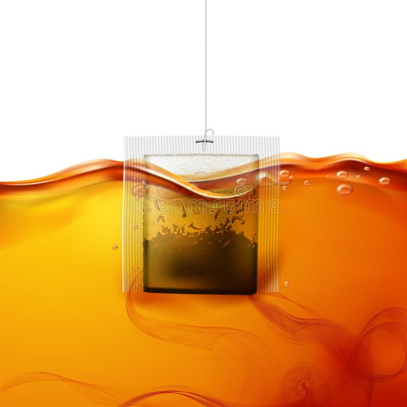 Vector realistic teabag dipped into hot water. Realistic teabag dipped into hot water. Black tea swirls in fresh liquid. Sachet brewing in hot beverage flow royalty free illustration