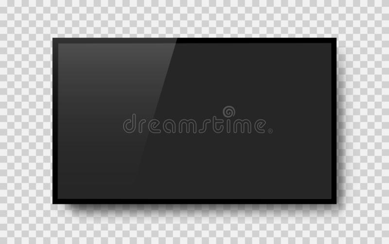 Realistic television screen on background. TV, modern blank screen lcd, led stock illustration