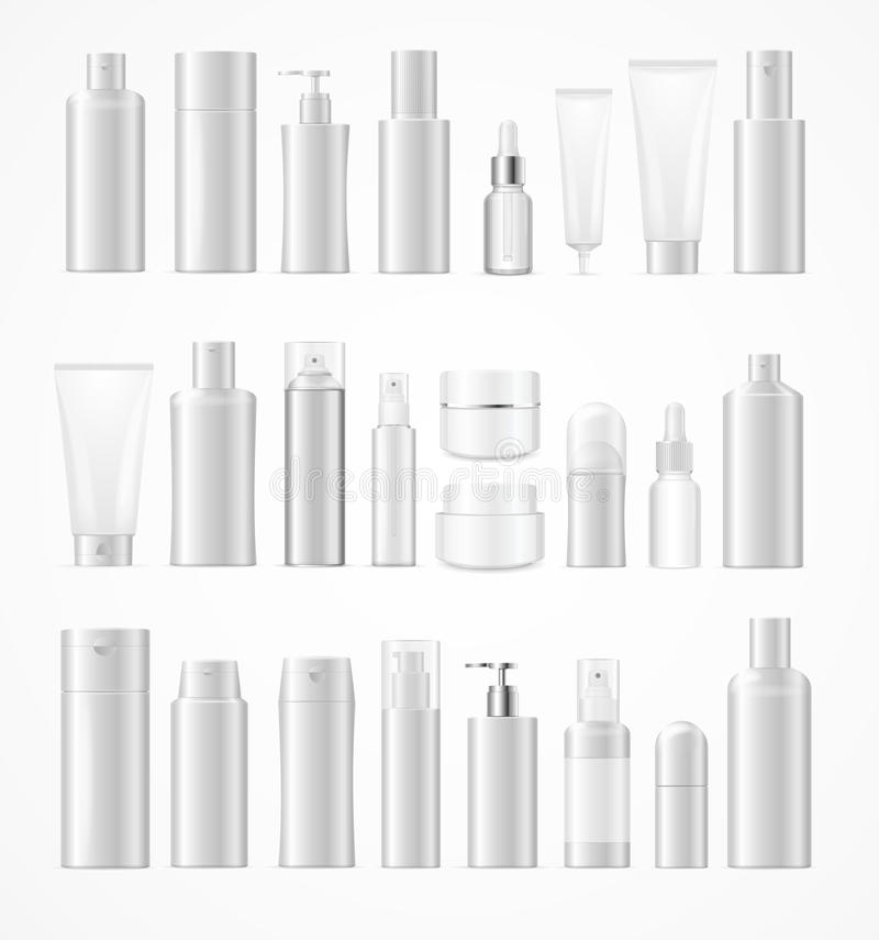 Realistic Template Blank White Big Cosmetic Bottles Set Isolated. Vector royalty free illustration