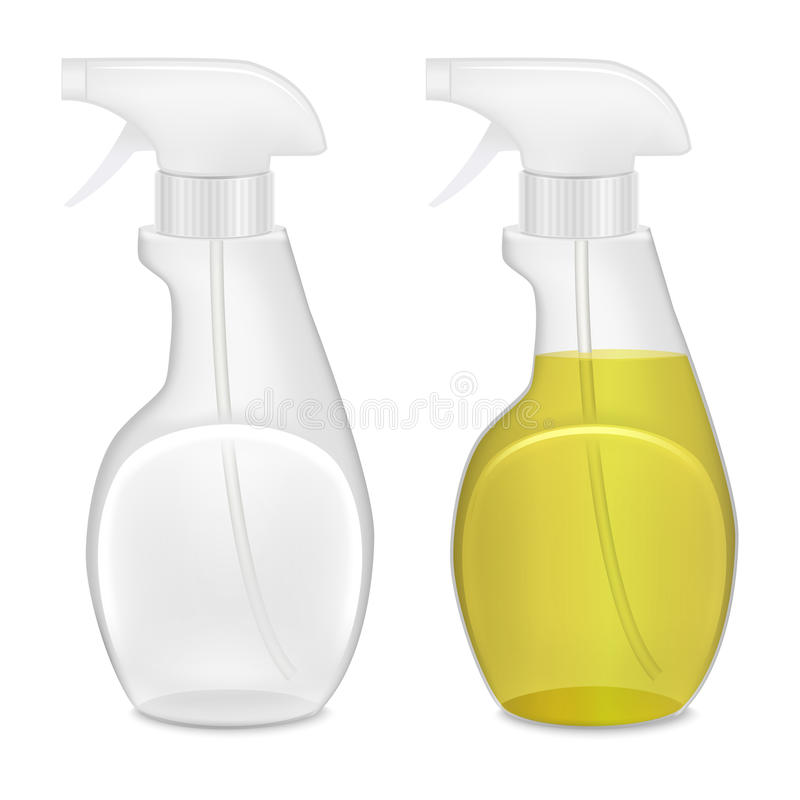 Realistic Template Blank White Bottle Spray Set. Vector royalty free illustration