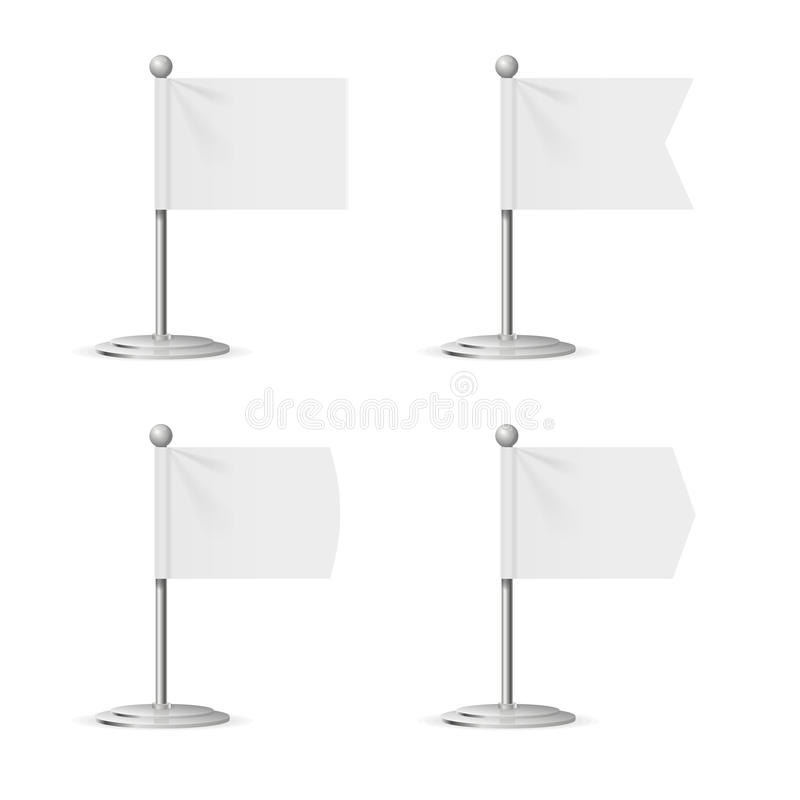 Blank White Flags Pocket Table Vector  Realistic Template