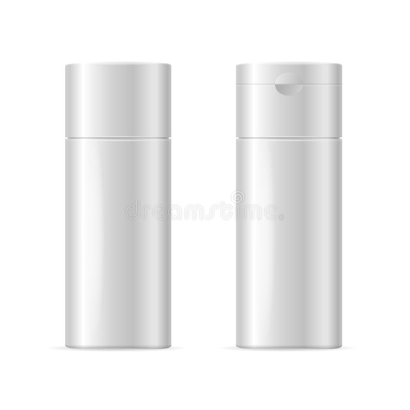Realistic Template Blank White Shampoo Cosmetic Bottle Isolated. Vector. Realistic Template Blank White Shampoo Cosmetic Bottle Isolated for Oily and Dry Hair stock illustration