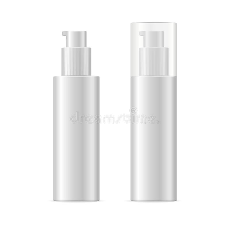 Realistic Template Blank White Spray Cosmetic Bottle Isolated. Vector stock illustration