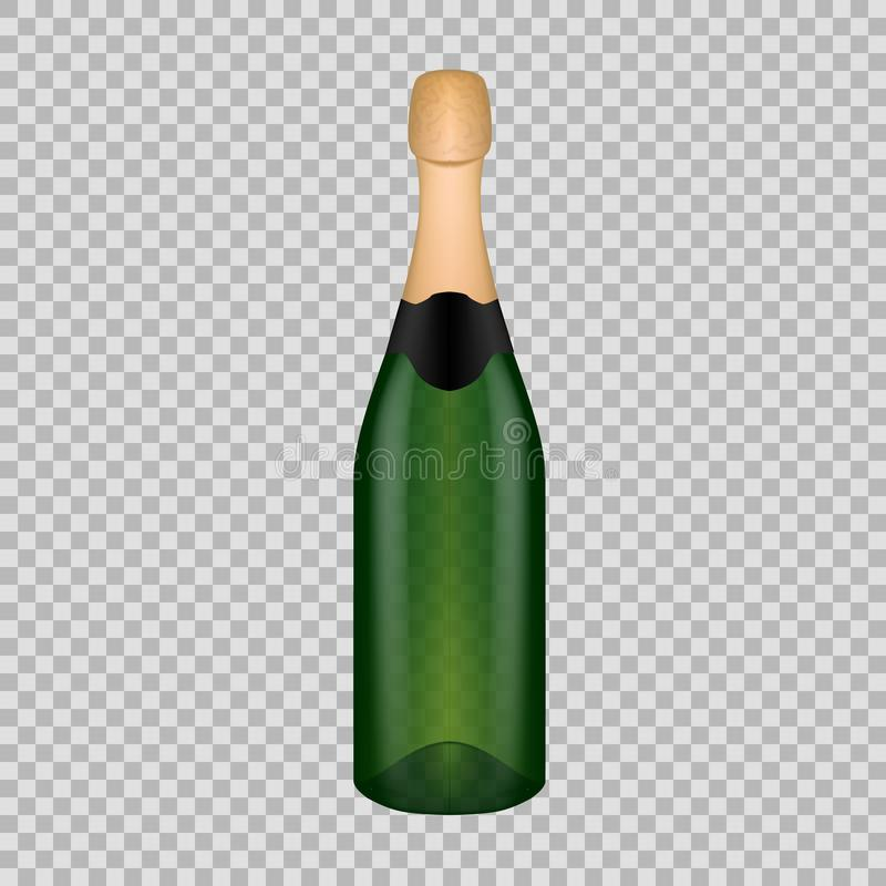 Realistic Template Empty Beautiful Glass Champagne Bottle With Cap ...