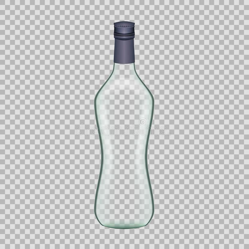 Realistic template empty beautiful glass vodka bottle with cap. Realistic template of empty glass vodka bottle with cap. Template, breadboard, glass package vector illustration