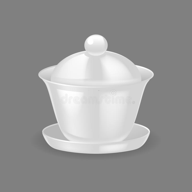 Realistic template, mock-up, porcelain ceramic ware. Bowl for soup. royalty free illustration