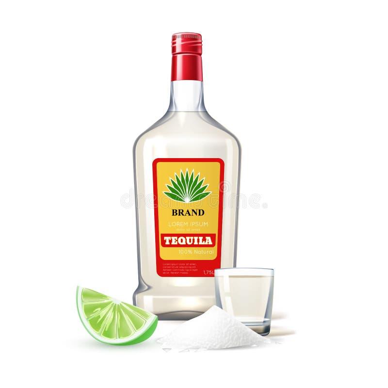 Vector Realistic tequila bottle shot lime salt stock illustration