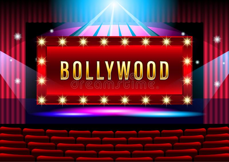 Realistic Theater stage with red curtain banner Bollywood. vector illustration