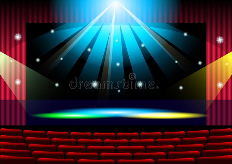 Realistic Theater stage with red curtain royalty free illustration