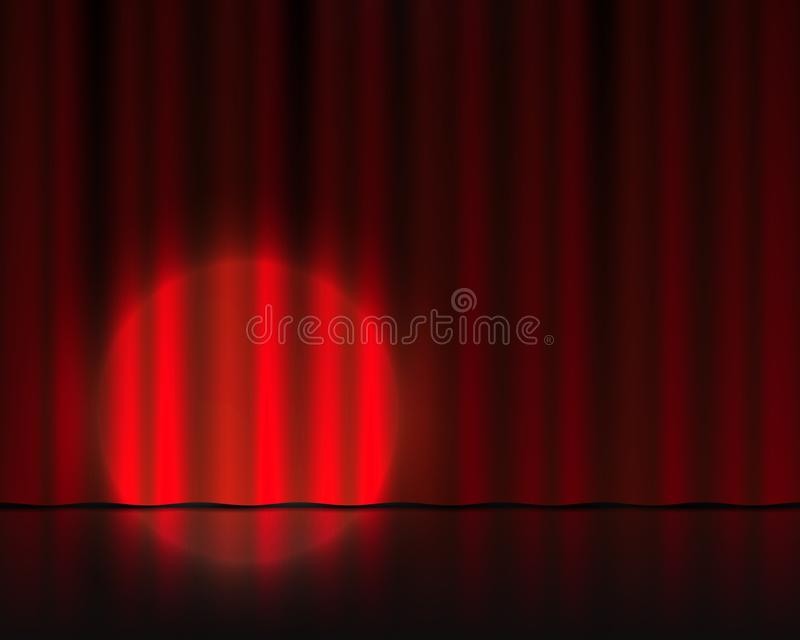 Realistic theater stage. Red curtains and spotlight. Circus or cinema drape. Vector 3D theater background vector illustration