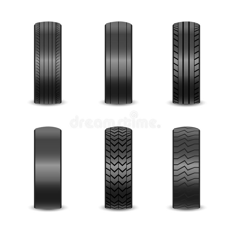 Realistic tires with different tread marks Auto black rubber tyre, illustration of car tyre for wheel on white. Background vector illustration