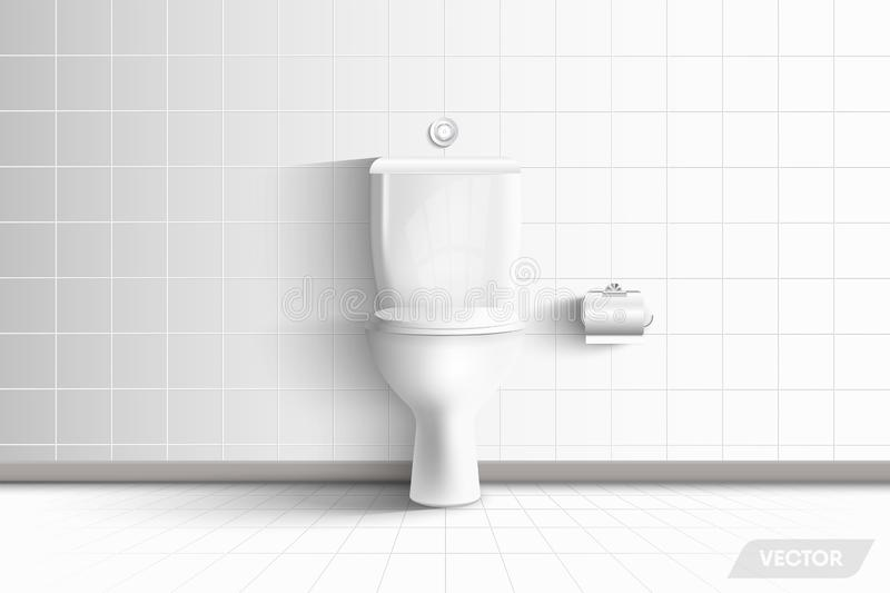 Realistic Toilet Bowl and Modern Architecture of  Interior Resting Room and Decorative Design., WC Hygiene Seat on Ceramic Tiles stock photo