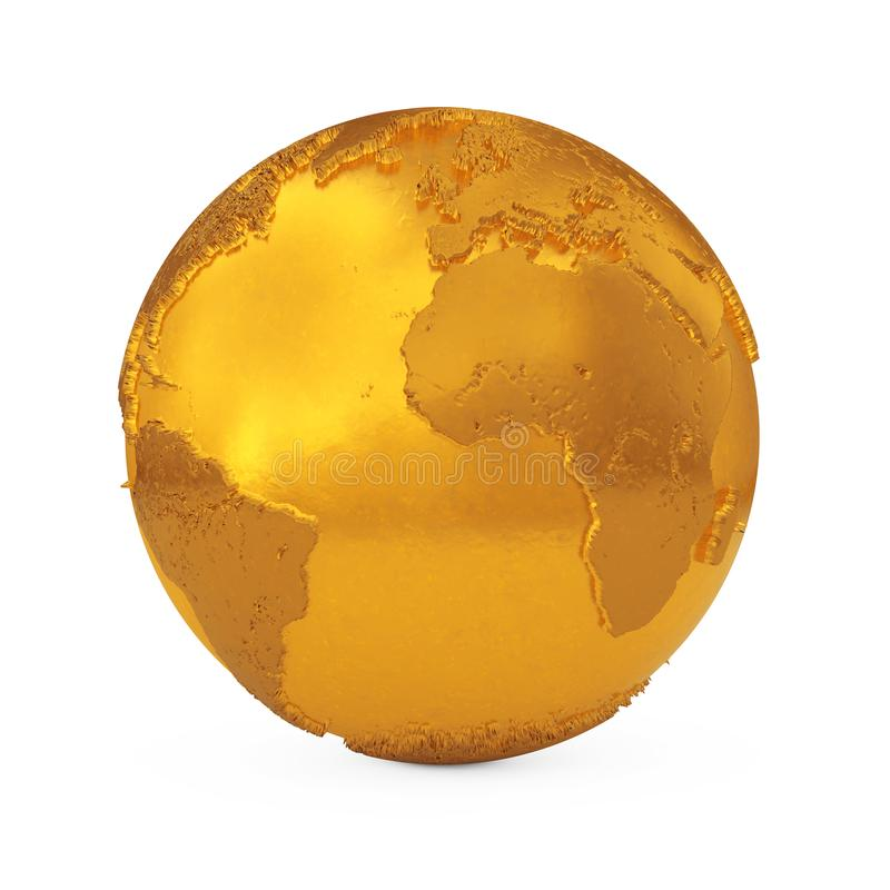 Realistic Topography Golden Metal Earth Globe. 3d Rendering stock illustration