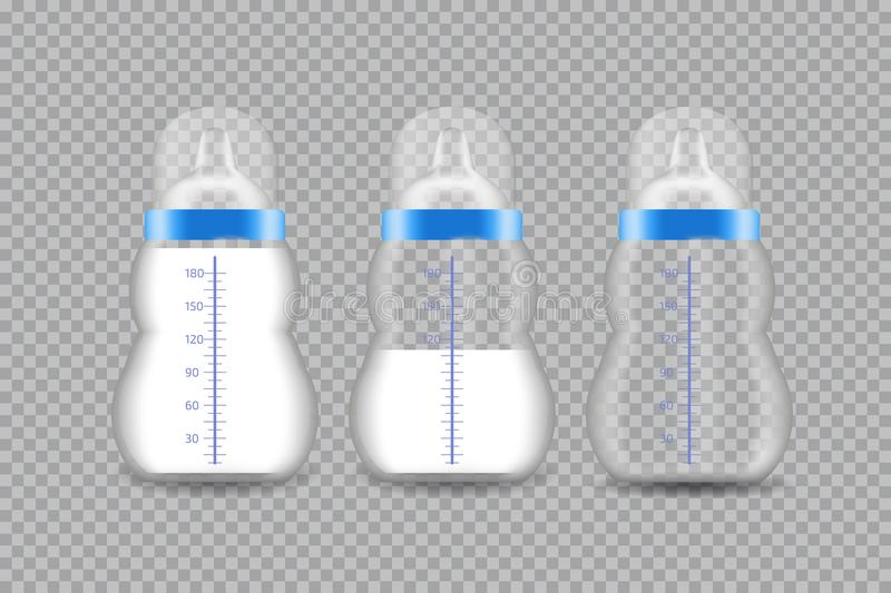 Realistic Transparent Baby Bottle with a Milk. stock illustration