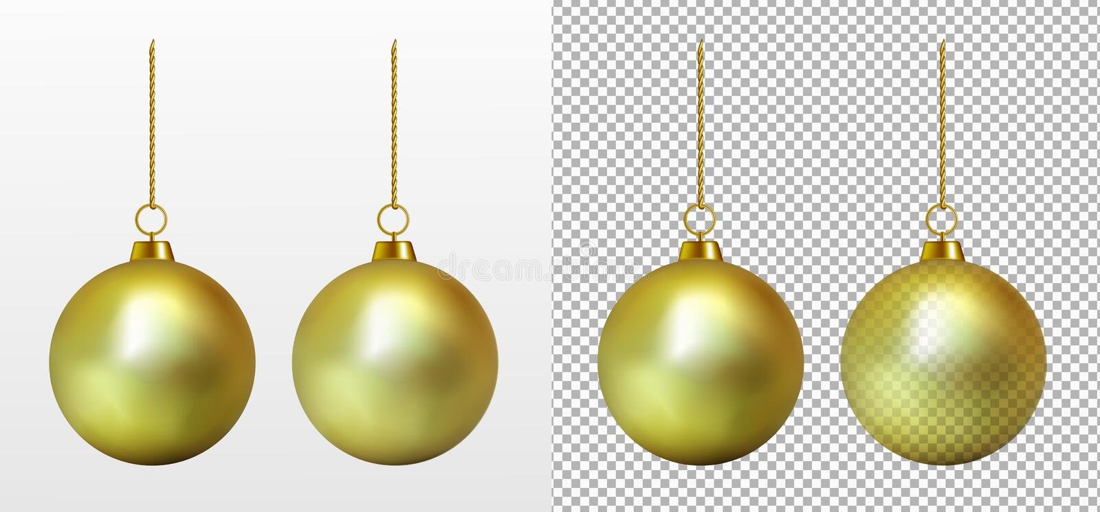 Realistic transparent gold Christmas ball. New year toy.  royalty free illustration