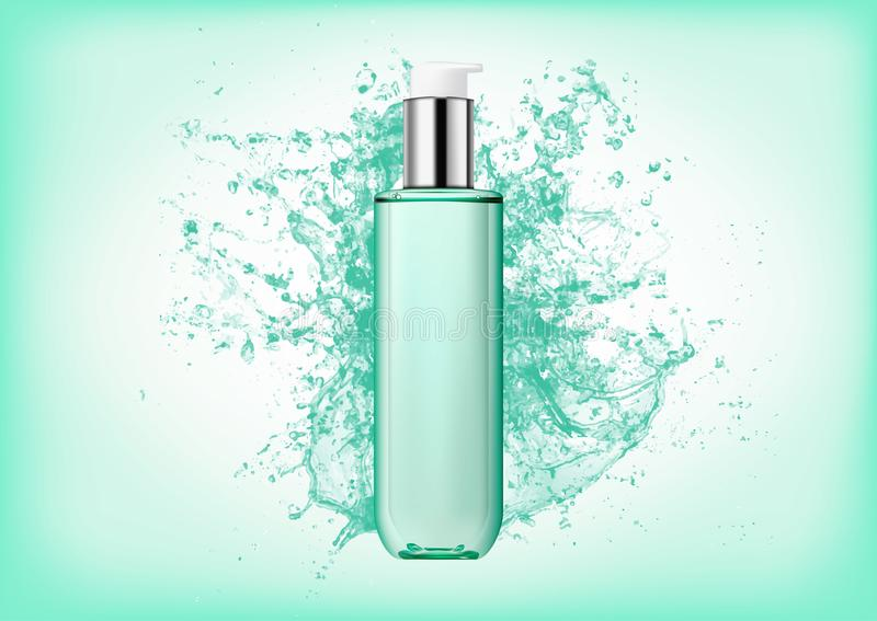 Realistic transparent plastic bottle with two-phase cosmetic product with pump dispenser.Package for tonic, lotion. Isolated object on abstract background with royalty free illustration