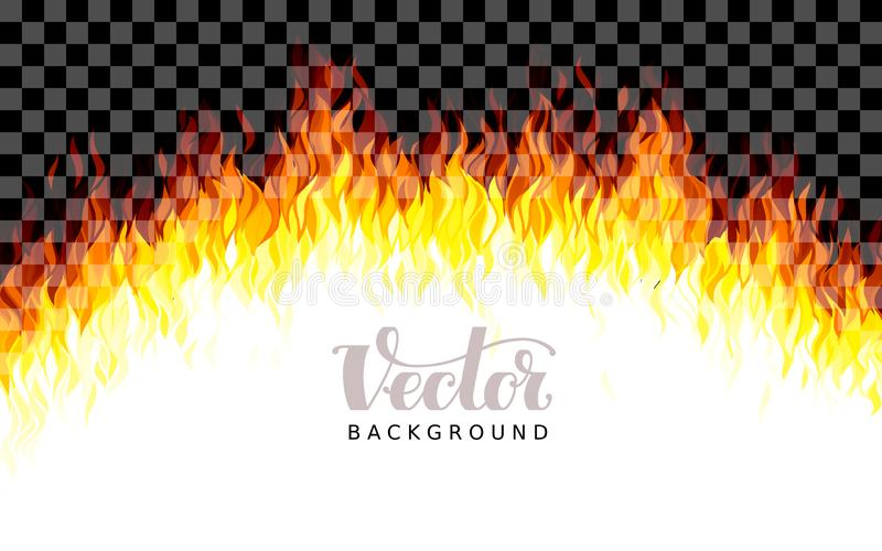 Realistic transparent vector fire flames on transparent background stock illustration