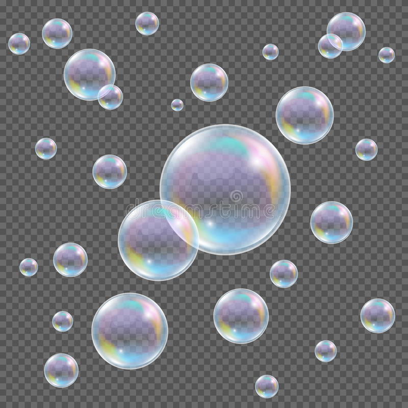 Realistic transparent vector soap bubbles with rainbow reflection and glares on checkered background stock illustration