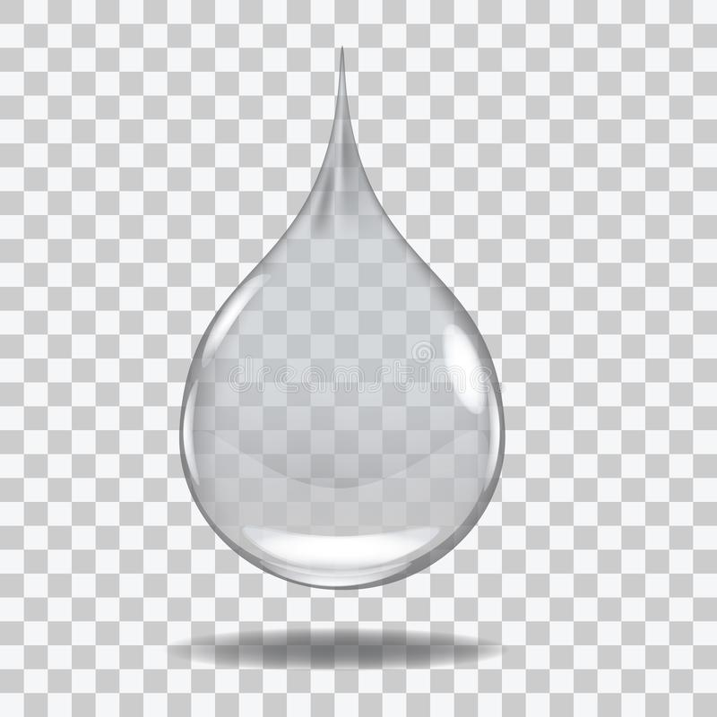 Realistic Transparent water drop. Useful with any background. stock illustration