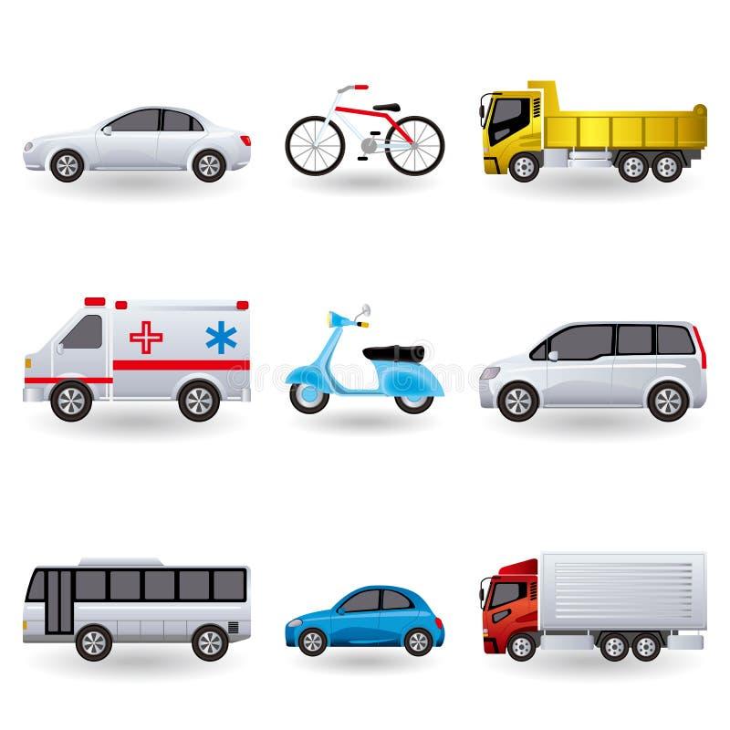 Realistic transportation icons set stock illustration