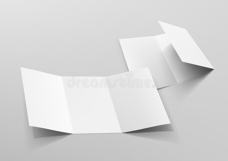 Realistic Tri-Fold A5 Or A4 Brochure Mockup. EPS10 Vector vector illustration