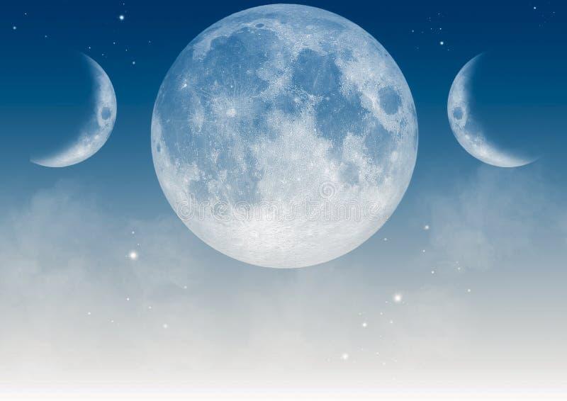 Realistic triple moon Wiccan symbol. stock illustration