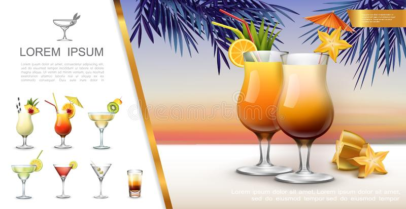 Realistic Tropical Party Concept. With pina colada tequila sunrise margarita martini mojito cocktails and shot drink vector illustration royalty free illustration