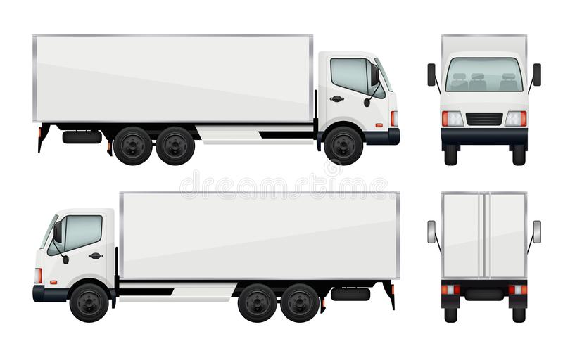 Realistic truck. Vector illustrations transportation of cargo royalty free illustration