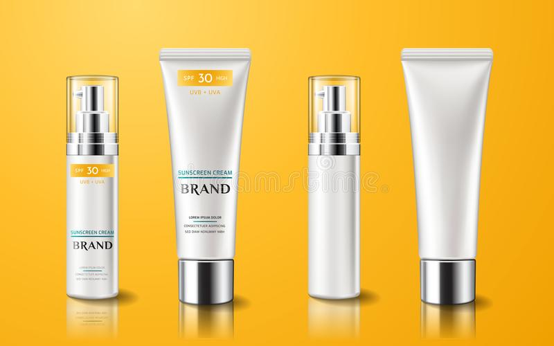 Realistic tube with sunscreen cream royalty free illustration